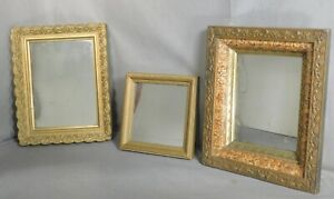 3 Antique Gilt Paint Victorian French Arts Crafts Small Mirror Picture Frame Old