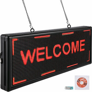 Vevor 40 x15 Led Scrolling Sign P10 Programmable Red Message Board With Sling