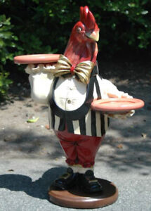 Rooster Butler Waiter Statue With Trays Tie Pub Bar Country Display 2 Foot