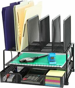 Mesh Desk Organizer With Sliding Drawer Double Tray And 5 Upright Sections