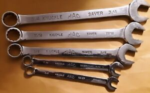 Mac Tools 5 Piece Sae Knuckle Saver Combination Wrenches Used
