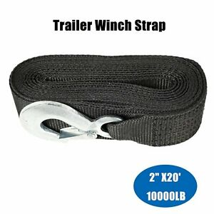 Deluxe Boat Trailer Replacement Winch Strap 2 x20 Safety Snap Hook 10000lbs Max
