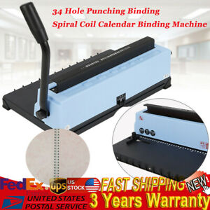 Newest 34 Square Hole Punching Binding Spiral Coil Calendar Binding Machine A4