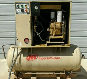 Used Ingersoll rand Up6 15c Tas 15 Hp Rotary Screw Air Compressor 120 Gallon