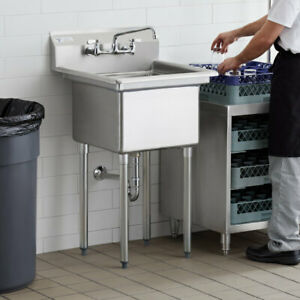 Commercial Sink Stainless Steel Commercial One Compartment Deep Bowl 23 1 2 Inch