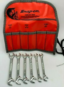 Snap On Tools Sae Ignition 4 Four Way Angle Open End Wrench Set Lot Mini Pouch