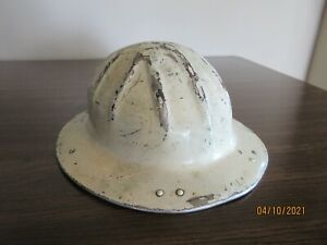 Vintage Hard Hat Helmet Full Brim Aluminum Painted White