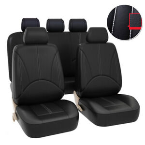 9pcs Pu Leather Car Seat Cover Breathable Protector Cushion Universal Full Set Fits 2004 Corolla