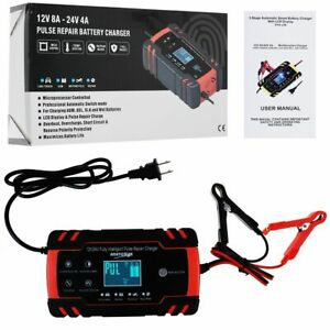 12 24v 8a Automatic Smart Car Battery Charger Maintainer Pulse Repair Agm gel