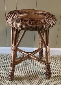 Vintage Wicker Rattan Stool Vanity Bench Ottoman Plant Stand Low Table Wood 18 T