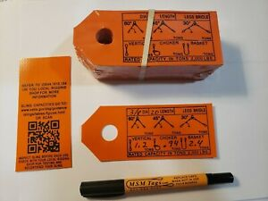 Wire Rope Sling Capacities 50 Tags Labels For Re tagging Slings Printed In Usa