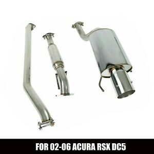 For 02 06 Acura Rsx Dc5 Non Type s 4 Rolled Muffler Tip Catback Exhaust Ststem