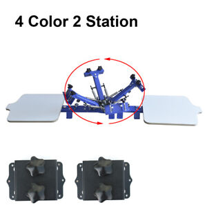 Intbuying 4 Color 2 Station Screen Printing Mahince Diy Press Printer