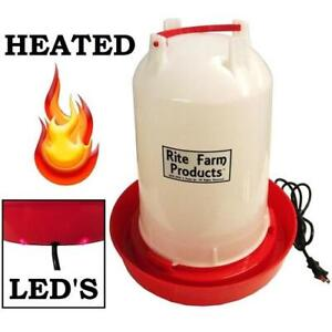 3 7 Gallon heated Rite Farm Products Gravity Poultry Waterer 6ft Cord Chicken