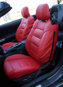 Ford Mustang 2015 2021 Red Iggee S leather Custom Fit Made 2 Front Seat Covers