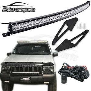 For 93 98 Jeep Grand Cherokee Zj 50 Curved Light Bar Roof Windshield Mount Kit
