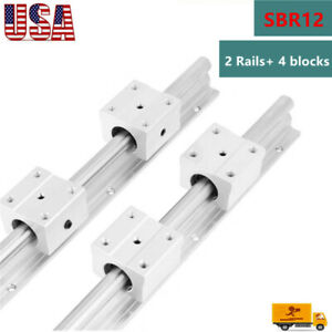 Sbr12 Linear Slide Rail Guide Shaft Rod 300 1500mm 4pcs Sbr12 Bearing Block Cnc