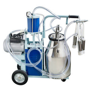 25l Stainless Steel Electric Milking Machine For Cows bucket 2 Plug 12cows hour