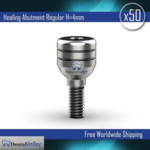 50x Dental Implants Standard Healing Cap Abutment H 4mm Compatible With Zimmer