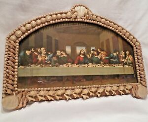 Antique Victorian Picture Frame Sailors Valentine Seashell Wall Art Last Supper