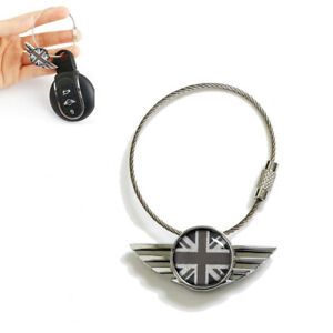 Black Grey Uk Union Jack Wing Logo Shape Key Chain Ring Keychain For Mini Cooper