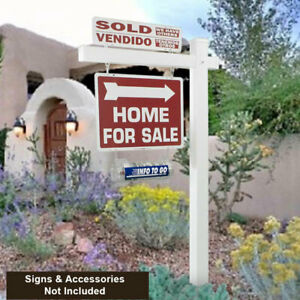 6 Tall White Vinyl Re post Real Estate Yard Sign Post Arms With Stake 4 Pack