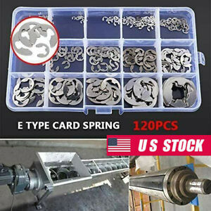 120x Assorted M1 5 m10 Stainless Steel E Clips C Circlip Kit Retaining Ring Set