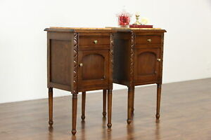 Pair Of Antique French Oak Marble Top Nightstands Or End Tables 37396