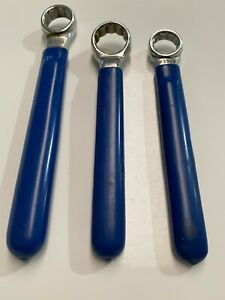 Electrician 3 Pc Sae Single Box Wrench Set Lot Blue Insulated Coated Handles