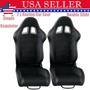 2x Pvc Faux Leather Reclinable Bucket Single Adjuster Double Track Racing Seats