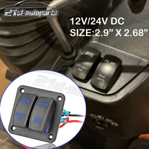 2gang Toggle Switch Panel Blue Led Light Bar Rear For Car Marine Boat Waterproof