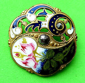 Antique Large Openwork Pretty Enamell Rose Button