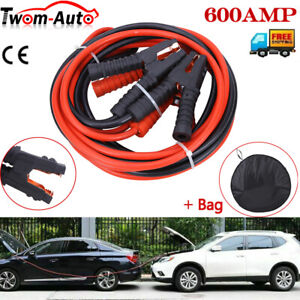 10ft Heavy Duty 2 Gauge Battery Booster Cable Emergency Power Jumper 600 Amp 12v