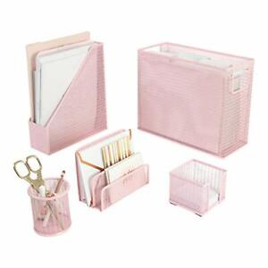 5 Piece Office Supplies Desk Organizer Set With Desktop Hanging File Pink