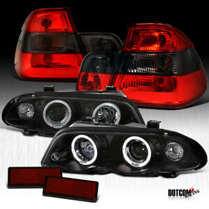 1999 2001 Bmw E46 3 Series 4dr Black Led Projector Headlights Smoke Tail Lamps