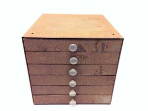 Rustic 6 Drawer Sliding School Filing Cabinet Industrial Container Vintage Old