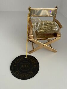 Solid Brass Movie Film Director Chair Magnetic Office Paper Clip Holder Mint Box