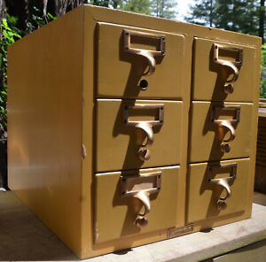 Vintage Gaylord Bros 6 Drawer Library Card File Catalog Light Wood