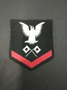US Navy black and red Signalman 3rd Class insignia $8.00