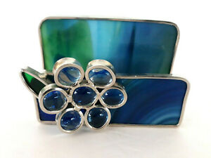 Vtg Tiffany Style Stained Glass Business Card Holder Mail Notes Flower Blue 4