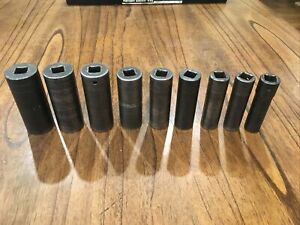 Snap On 9 Piece 1 2 Drive 6 Point Sae Flank Drive Deep Impact Socket Set
