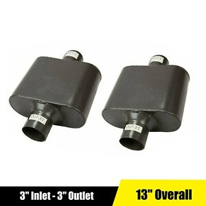 Pair Of Exhaust Muffler 3 Center Inlet Outlet Single Chamber Race Performance