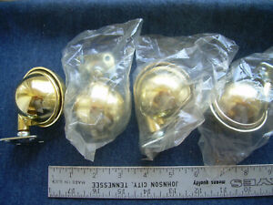Lot Of Four 2 Inch Brass Plated Ball Caster W plate Mount