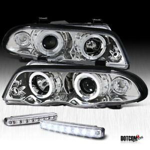 Bmw 99 01 E46 3 Series Clear Projector Halo Headlights bumper Led Fog Lamps