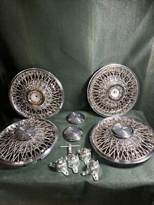 15 Inch Chrysler Wire Hubcaps Full Set Nice