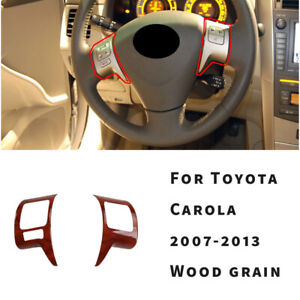For Toyota Corolla Dx 2007 08 2013 Wood Grain Steering Wheel Switch Cover Trim