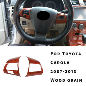 For Toyota Corolla Dx 2007 09 2013 Wood Grain Steering Wheel Switch Cover Trim