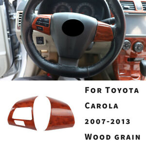 For Toyota Corolla 2007 2008 2013 Wood Grain Steering Wheel Button Cover Trim 2