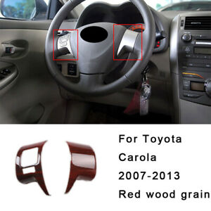 For Toyota Corolla 2007 2013 Red Wood Grain Steering Wheel Switch Cover Trim 2