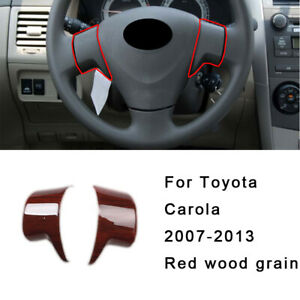 Steering Wheel Button Cover Trim For Toyota Corolla 2007 2013 Gl Red Wood Grain